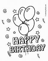 Birthday Coloring Card Printable Happy Cards Pages Mom Template Adult sketch template
