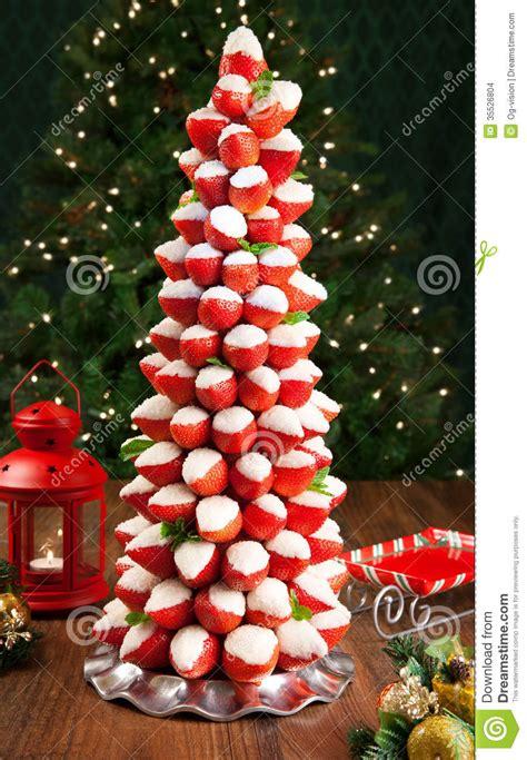 strawberry christmas tree stock photo image  cake