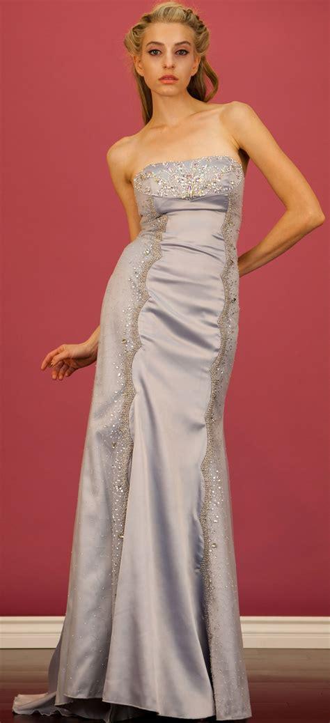 Silver Satin Strapless Full Length Long Formal Dress