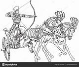 Chariot Egyptian Ancient Warrior Outline Egypt Pages Horses Vector Roman Horse Sketch Pharaoh Illustration Clip Carriage Clipart Colouring Wheeled Illustrations sketch template