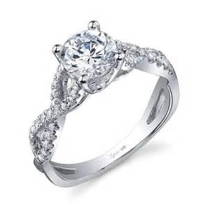Sylvie Collection Twist White Gold Diamond Engagement Ring