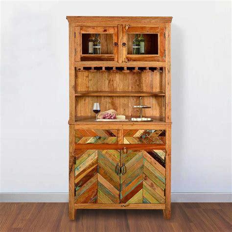 rustic reclaimed wood wine bar hutch sideboard  glass stem rack