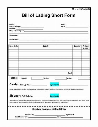 Lading Bill Form Short Template Templates Forms