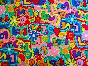 Vintage 1960s Psychedelic Fabric-Peace & Love Flower Power