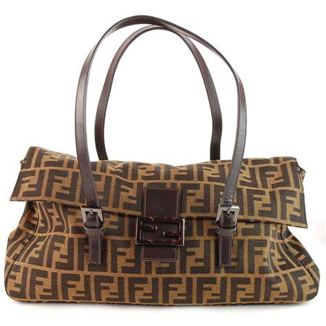 fendi buckle zucca monogram leather hand bag purse ebay
