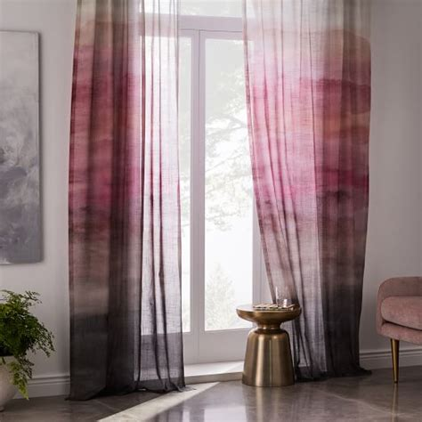 images of drapes sheer cotton painted ombre curtains set of 2 dusty