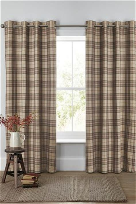 archie woven check eyelet curtains home sweet home