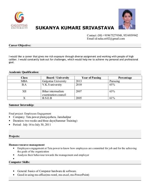 Internship Resume Format For Freshers by Mba Resume Format