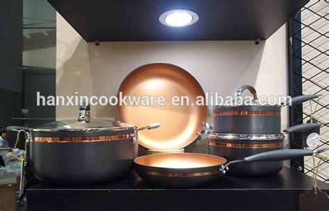 copper color hard anodized press aluminum gold nonstick frying pan  selling products