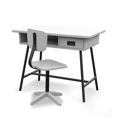 bureau la classe et chaise d 39 atelier gris clair laurette