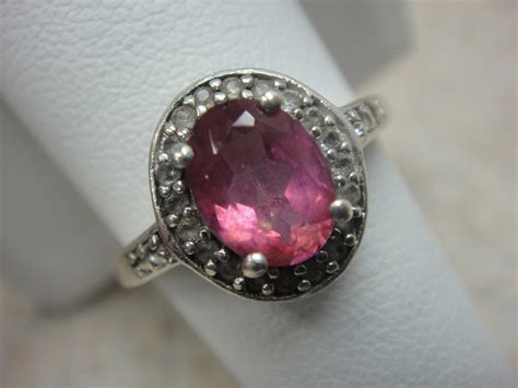 sterling silver pink stone ring  diamond halo