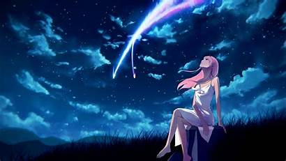 Sky Anime Night Zero Dark Stars Background