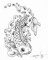 Coloring Pages Koi Fish Print Adult Adults Tattoo Japanese Dragon sketch template