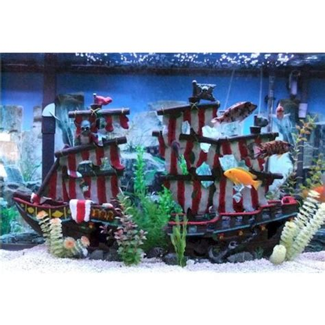 penn plax striped sail shipwreck aquarium decoration 2pc large 19 inches high for large