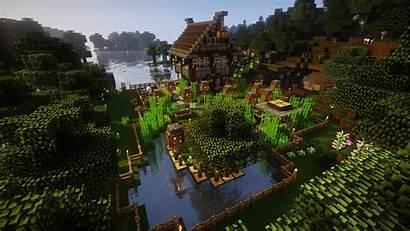 Minecraft Farm Forest Water Oak Trees Wallpapers