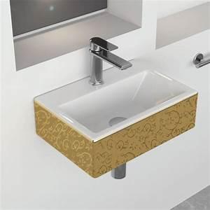 Lave Main Ceramique : lave mains pure gold suspendu 43x30 cm c ramique ~ Edinachiropracticcenter.com Idées de Décoration