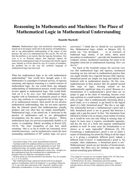 (PDF) Reasoning In Mathematics and Machines: The Place of
