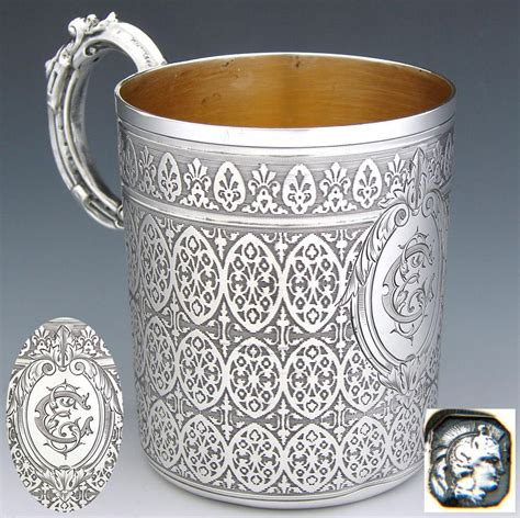 Antique French Sterling Silver Coffee Or Tea Cup, Ornate