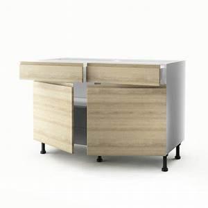 meuble de cuisine bas decor chene 2 portes2 tiroirs With meuble cuisine bas 120 cm 5 meuble bas 120 cm meuble bas 120 cm omega tous les
