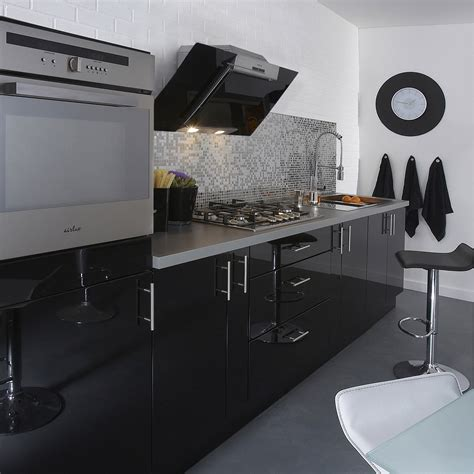 meuble haut cuisine noir meuble de cuisine noir delinia leroy merlin