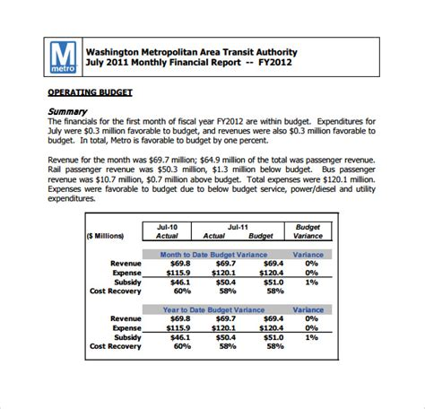 Budget Performance Report Template by 8 Sle Budget Reports Sle Templates