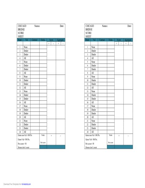 Printable Chicago Bridge Score Sheet Chicago Bridge Score Sheet Free
