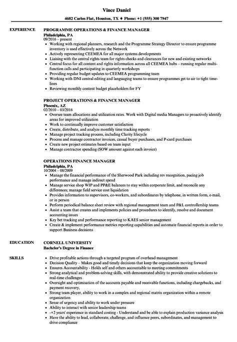 Finance Manager Resume by Operations Finance Manager Resume Sles Velvet