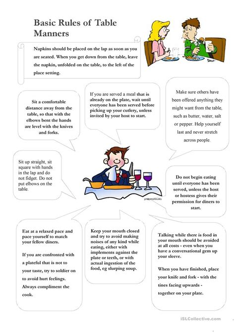 table manners english esl worksheets