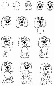 how to draw a cartoon dog sitting