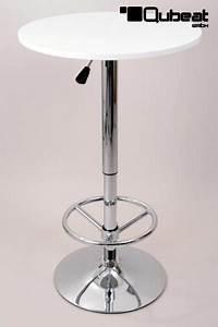 Bistro tisch wei runde holzplatte h henverstellbar for Tisch weiß mit holzplatte