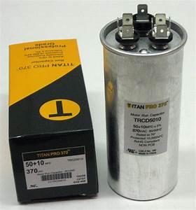 Titanpro Trcd5010 Hvac Round Dual Motor Run Capacitor  50  10 Mfd  Uf 370 Volts