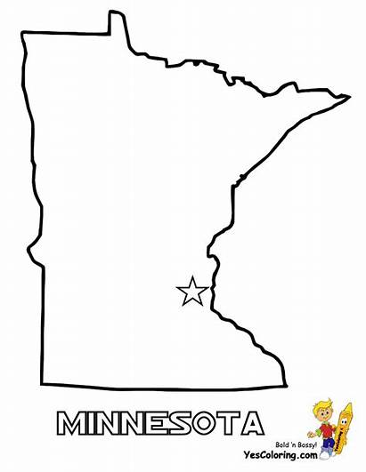 State Map Minnesota Coloring Pages Maps Outline