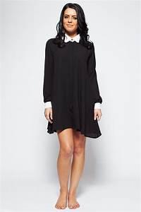 Yasmin black u0026 white peter pan collar u0026 cuff chiffon long blouse shirt dress - Clothing from ...