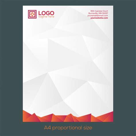 orange polygonal letterhead vector