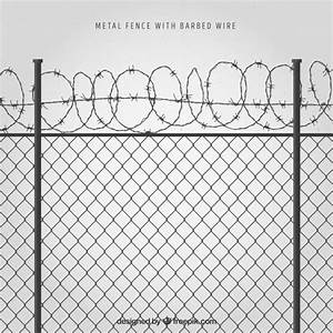 Download Metal Fence With Barbed Wire On Gray Background