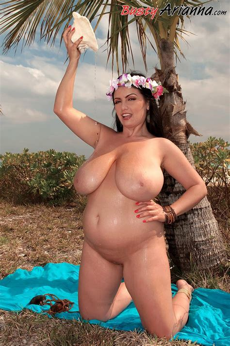 Busty Hula Girl Arianna Gets Naked On The Tropical Beach