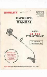 Homelite String Trimmer Owners Manual Model St 155 Not Pdf