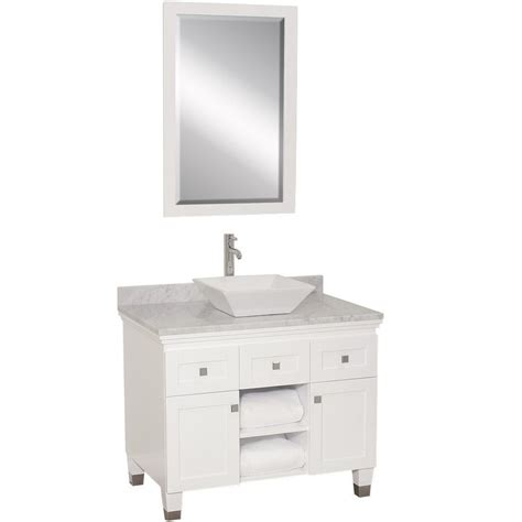 white vanity top for vessel sink 36 quot premiere single vessel sink vanity white