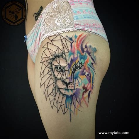 geometric watercolor lion tattoo tattoo pinterest