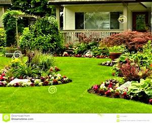 Flower Garden Landscaping With Green Grass And Colourful ...