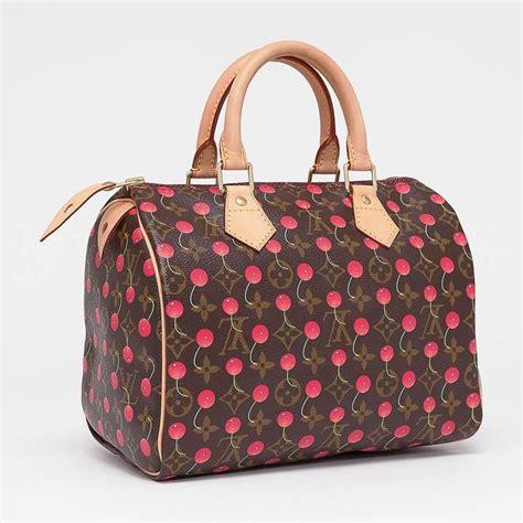 louis vuitton limited edition monogram cerises speedy  bag cherry print  stdibs