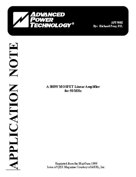 Mosfet Linear Amplifier For Mhz Application Note