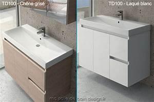 Credence Lavabo Salle De Bain : grand meuble lavabo suspendu td 100cm avec portes et tiroirs ~ Dode.kayakingforconservation.com Idées de Décoration