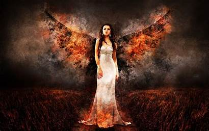 Wings Fire Woman Wallpapers Angel Fantasy Tags
