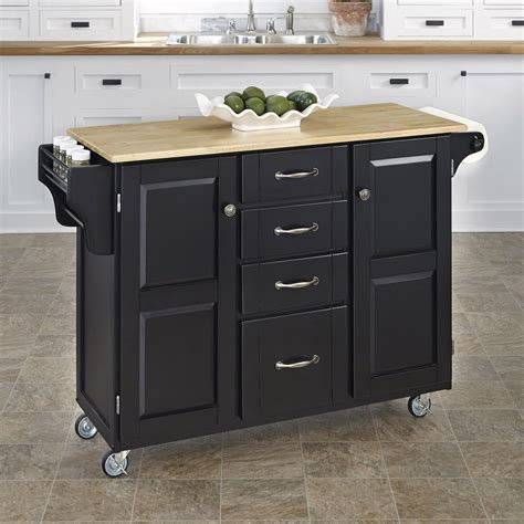 kitchen islands lowes shop home styles 52 5 in l x 18 in w x 35 75 in h black