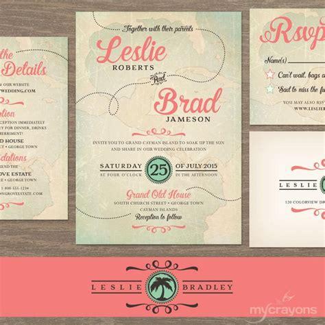 vintage destination wedding invitation travel wedding