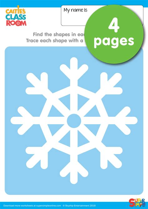 snowflake worksheets trace  shapes super simple