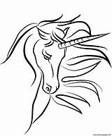 Unicorn Horn Coloring Mythical Printable Licorne Coloriage sketch template