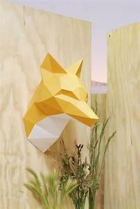 Trophée Animaux Origami : paper fox troph e en papier de assembli ~ Teatrodelosmanantiales.com Idées de Décoration
