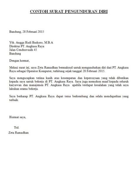 contoh surat pengunduran diri resign kerja yang sopan